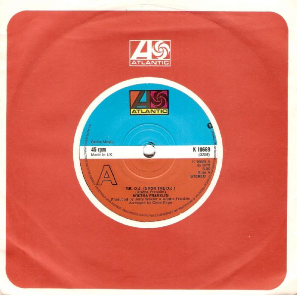 ARETHA FRANKLIN Mr. D.J. (5 For The D.J.) Vinyl Record 7 Inch Atlantic 1975